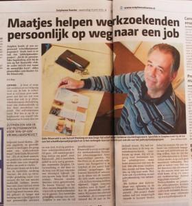 Krantenartikel over Jobhulpmaatje in de Zutphense Koerier juni 2015.